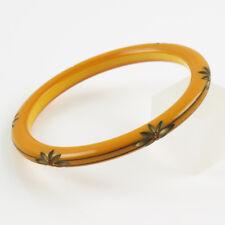 Vintage Bakelite Bracelet Bangle Spacer Flower carved creamed corn rhinestone