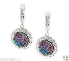 Drop Earrings Sterling Silver Qvc J277686 Rainbow Drusy Quartz Rope Border Round