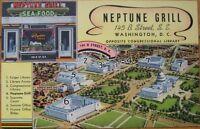 Washington, DC 1940s Seafood Restaurant Linen Postcard: 'Neptune Grill'