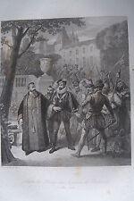 c49-3f Gravure 1860 Achille de Harlay dans la journée des barricades 12 mai 1588