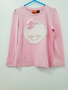 Girls Hand Embellished long sleeved pink T Shirt Sz 4 BN
