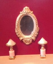 Dollhouse Miniature Ornate Mirror & Pink  Handcrafted non-electric Lamps 1:12