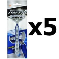 [DORCO] Pace4(FRA100) DISPOSABLE Razor, Pace 4, 4 Blade Shaving System - 5pcs