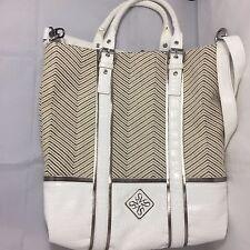 Vera Wang Simply Vera White Brown Leather Tan Basket Weave Large Tote Purse