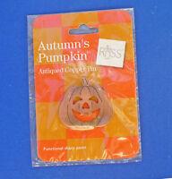 Russ PIN Halloween Vintage PUMPKIN Antiqued COPPER JOL Holiday Brooch NEW