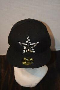 Dallas Cowboys New Era 59FIFTY Black Baseball Star Hat Cap Men's Size 7. 3/8 NEW