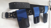 BBI Scaffolding Blue Nylon & Leather Tools Belt 2 in 1 Padded Work Tool Belt
