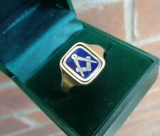 More details for 9ct yellow gold & blue enamel masonic swivel ring h/m 1979  not plated   size y