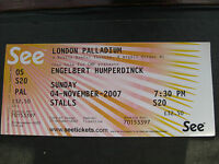 ENGELBERT HUMPERDINCK  LONDON  04/11/2007  TICKET UNUSED