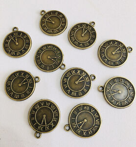10 x Clock Watch Charms Steam Punk Charms Antique Bronze Ideal Jewellery Making
