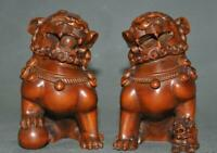 "4""Old Chinese Boxwood wood Fengshui Lion Foo dog Beast wealth auspicious Statue"