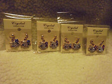 """Pink, Iri, Blue Red/Purple Bow Crystal """"Miss Kitty"""" Dangle Earrings/Choose From"""