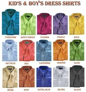 Boy's& Kid's Shiny Satin Dress Shirt With Tie and Handkerchief Set Style KG-05