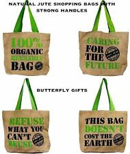 Natural Eco Friendly Grocery Shopping Bag Jute Hessian Shopper Reusable Tote New