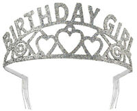 Birthday Girl Princess Sparkling Glitter Silver Tiara Crown Party Supply
