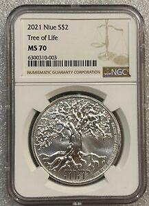 2021 Tree of Life Hebrew Yahweh Niue Silver 1 oz .9999 Fine  ~~ NGC MS70 ~~ RARE