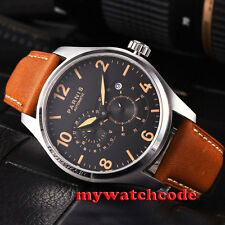 44mm parnis black dial orange marks date 21 jewels miyota automatic mens watch