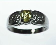 Yellow Sapphire Natural Genuine Gemstone Sterling silver ring RSS1078