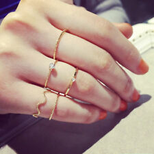 5pcs Gold Above Knuckle Stacking Mid Midi Finger Ring Set Women Crystal Jewelry