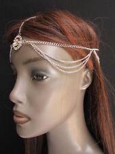 WOMEN SILVER METAL HEAD CHAIN BAND FASHION JEWELRY BIG CENTER MULTI RHINESTONES