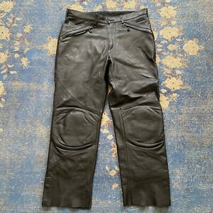 VTG HARLEY DAVIDSON 6 W26 Black Leather High Waist Straight Leg Pants 6X32 Motorcycle Biker Rock Punk Rockstar