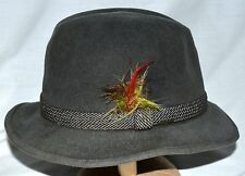 8cdc78e36c5 Vintage Stetson Dark Gray with Side Feather Mens Fedora Distressed Hat Sz  Small