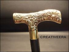 Vintage Antique Style Gold Brass, Black Wood Victorian Walking Stick Cane Gift