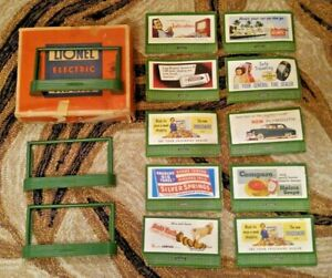 Vintage Lionel Postwar 3 of 310 Green Billboard Frames with 10 Billboards