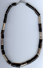 BEAUTIFUL VINTAGE SILVER & BLACK CORAL BEADS NECKLACE