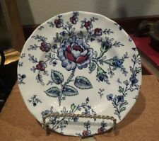 3 JOHNSON BROTHERS ENGLAND  ROSE CHINTZ BLUE BREAD AND BUTTER DESSERT PLATES