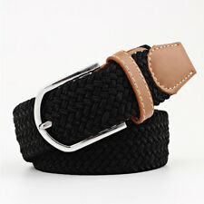 Men Weave Belt Elastic Stretch Waistband Woven Design Leather Tip Silver Buckle