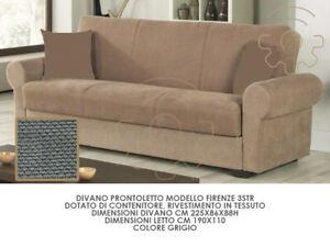 Divano divanetto 3 posti funzione letto mod Firenze colore grigio vano contenito