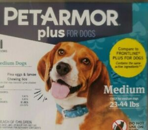 PET ARMOR PLUS KILLS FLEAS & TICKS FOR DOGS 23-44 LBS ~ONE PIPETTE~ONE MONTH~