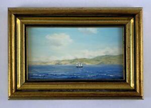 ROBERT HUGHES RMS Miniature Oil Painting OFF COAST MARTINIQUE - CARIBBEAN