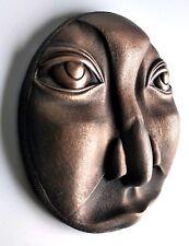 Moon Face Man Bronze Wall Mount Art Sculpture Relief Home Decor Gift Idea