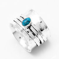 Turquoise 925 Sterling Silver Wide Band Spinner Ring Jewelry All Size 08