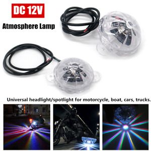2PCS Motorcycle LED Colored Light Underglow Under Car Body Atmosphere Lighting