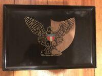 "Vintage Couroc Monterey California Americana eagle design 18"" X 12.5"" tray"