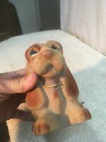 Vintage Royalty Design Novelty Felt Basset Hound Dog Bank 7in Figurine