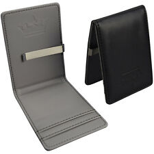 Mens Grey Money Clip Silver Faux Leather Black Wallet Cash Credit ID Card Holder