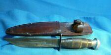 Vintage  Hunting Knife Leather Washer Handle