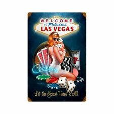 Las Vegas Good Times Glücksspiel Poker Pin Up Art Retro Sign Blechschild Schild