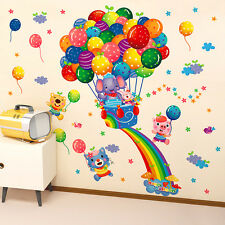 Rainbow Balloon Wall Stickers Animal Nursery Baby Kids Room Decals Art