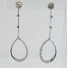 Diamond Earrings 14K White Gold Dangle Drop .75 TDW