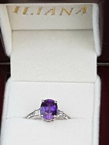 Iliana 18ct White Gold Oval Violet Purple Sapphire and diamond ring