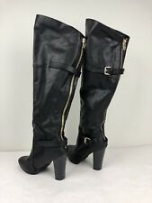 JustFab Womens Boots Black Over-the-Knee Riding Dress Size 9M Faux Leather Gold