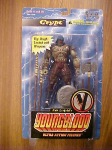 CRYPT, Youngblood Action Figure 1995 Vintage McFarlane Toys, In Opened Package