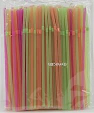 bbbab9e838383 100 Neon Flexible Straws Assorted Colours Birthday Party Drinking