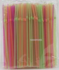 200 x Neon Flessibile Cannucce Festa Di Compleanno BERE Cannucce colorate assortiti