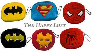 SUPERHERO KIDS BOYS COIN PURSE WALLET BATMAN SUPERMAN IRON MAN SPIDERMAN GIFT